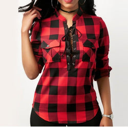 Women's Clothing Red / 4XL Tops And Blouses Casual Plaid Shirts Long Sleeve Office Women Blouse