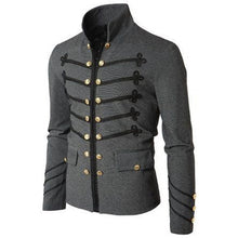 Load image into Gallery viewer, 2019 Vintage Mens Gothic Steampunk Military Parade Jacket Slim Fit Tunic Rock Black Army Coat Long Sleeve Men Plus Size Jackets
