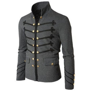 2019 Vintage Mens Gothic Steampunk Military Parade Jacket Slim Fit Tunic Rock Black Army Coat Long Sleeve Men Plus Size Jackets