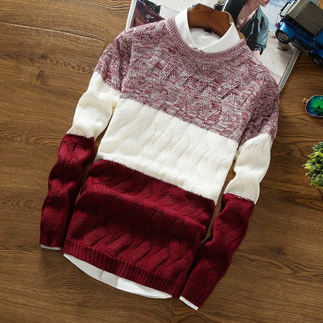 Manoswe Casual Long Sleeve Autumn Winter Sweater Men Korean Style Slim Knitted Sweater Pullover Jumper Fashion Streetwear