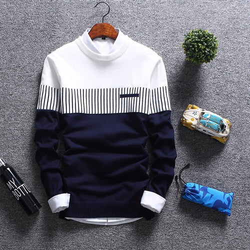 2019 New Men's Autumn Winter Pullover Wool Slim Fit Striped Knitted Sweaters Mens Brand Clothing Casual pull homme hombre