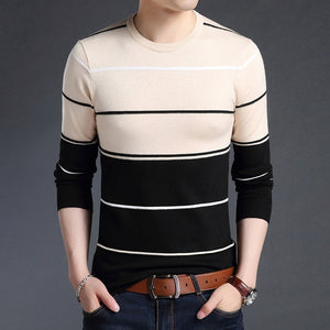 Knitted Large Size 5XL O-neck Striped Patchwork Men's Sweater Slim Business Home Long Sleeve Casual Sweaters 2019 Autumn Winter