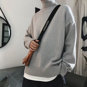 Sweater winter high collar warm thick sweater men's high collar brand slim pullover men's loose long sleeves knitted sweater