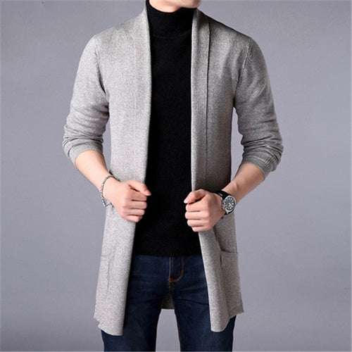 Sweater Coats Men New Fashion 2019 Autumn Men's Slim Long Solid Color Knitted Jacket Fashion Men's Casual Sweater Cardigan Coats