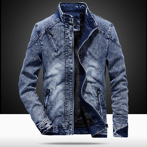 MJARTORIA Denim Jacket With for Men Autumn fashion Jeans Jacket Coat Male Slim Casual Hoodie Coat Men's Outwear Jacket And Coats