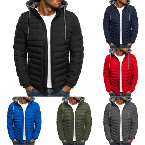 WENYUJH Winter Jacket Men Hooded Coat Causal Zipper Men's Jackets Parka Warm Clothes For Men Streetwear Clothing Winter Coat