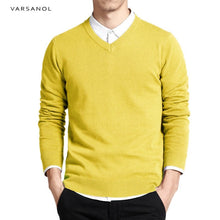 Load image into Gallery viewer, Varsanol Cotton Sweater Men Long Sleeve Pullovers Outwear Man V-Neck sweaters Tops Loose Solid Fit Knitting Clothing 8Colors New