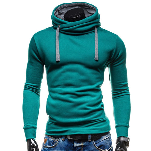 2018 Hoodies Men Sudaderas Hombre Hip Hop Mens Brand Solid Color Turtleneck Pullover  Hoodie Sweatshirt  Slim Fit Men Hoody