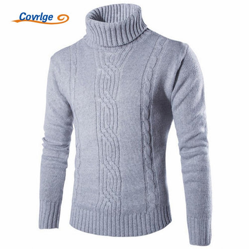 Covrlge 2019 Male Sweater Pullover Slim Warm Solid High Lapel Jacquard Hedging British Men's Clothing Mens Turtleneck MZM030
