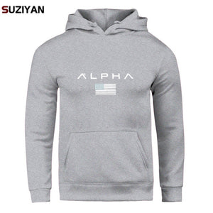 Pullover Print Alpha Hoodies Men Autumn Fashion Brand Cotton Long Sleeve Fleece Warm Sweatshirt Men's Tracksuits Sportswear