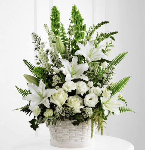 Basket Arrangement (White & Green)