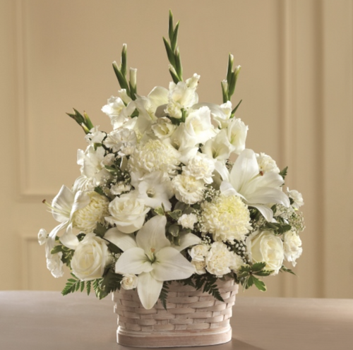 Basket Arrangement (White & Cream)