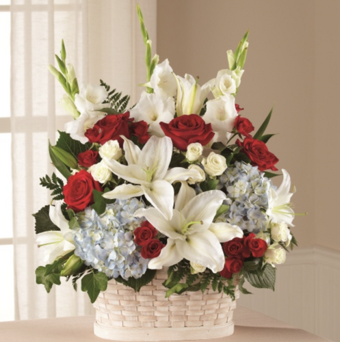 Basket Arrangement (Red, White & Blue)