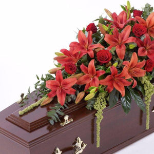 Casket Spray: Lilies & Roses (Red)