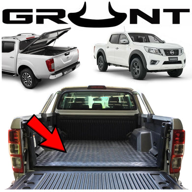 Heavy duty rubber checker plate ute tray mat Nissan Navara NP300 08/2017-2019 (suits vehicles fitted with tub liner)