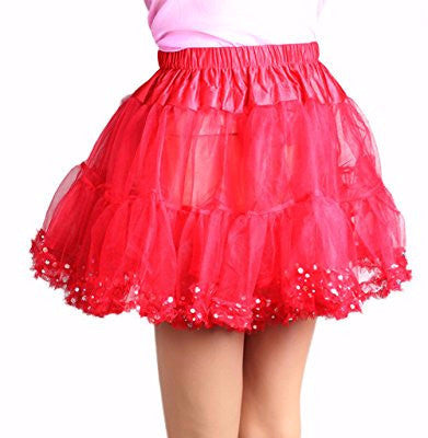 Chiffon Petticoat Sequin Dot Red