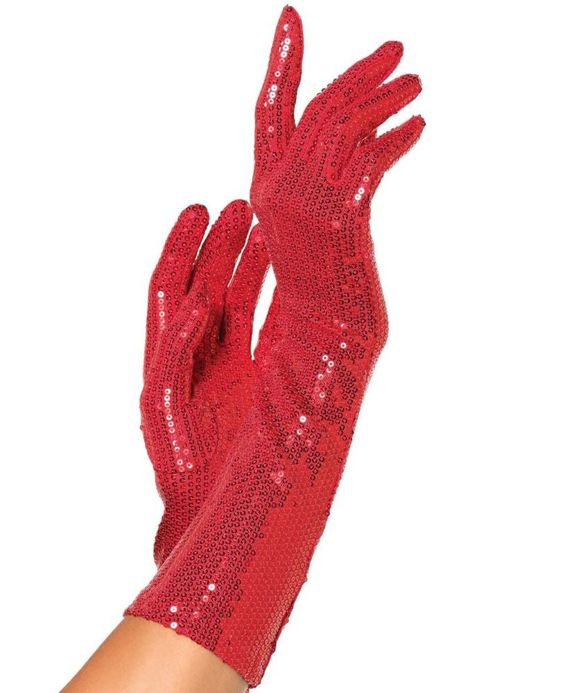 Sequin Elbow Length Gloves Red