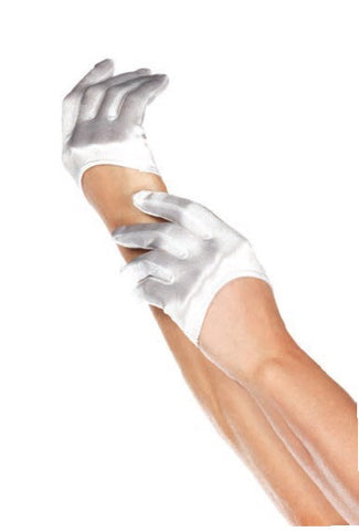 Mini Cropped Satin Gloves White