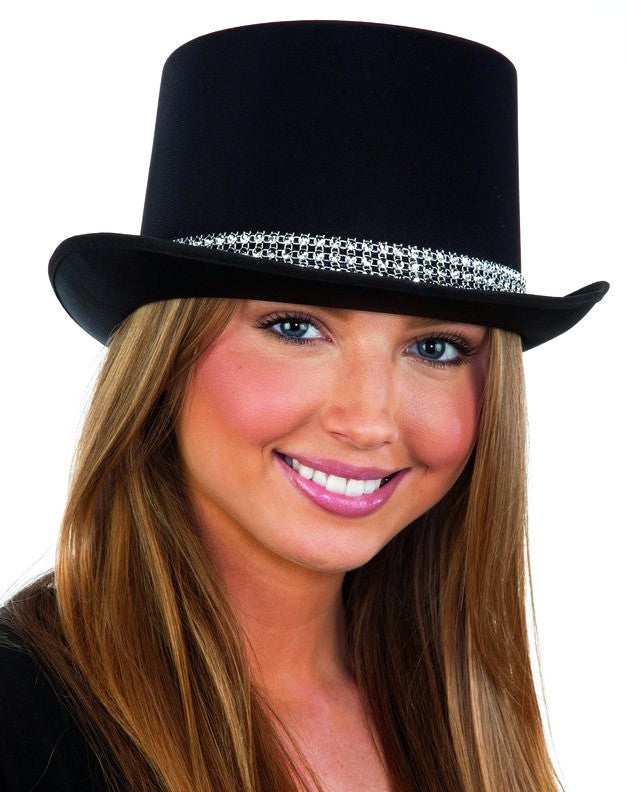 Black Satin Top Hat with Rhinestone Band