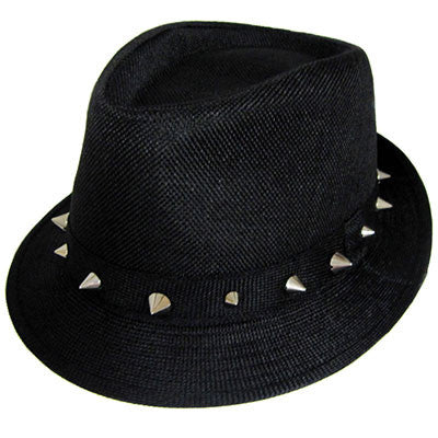 Black Fedora with Silver Spike Band