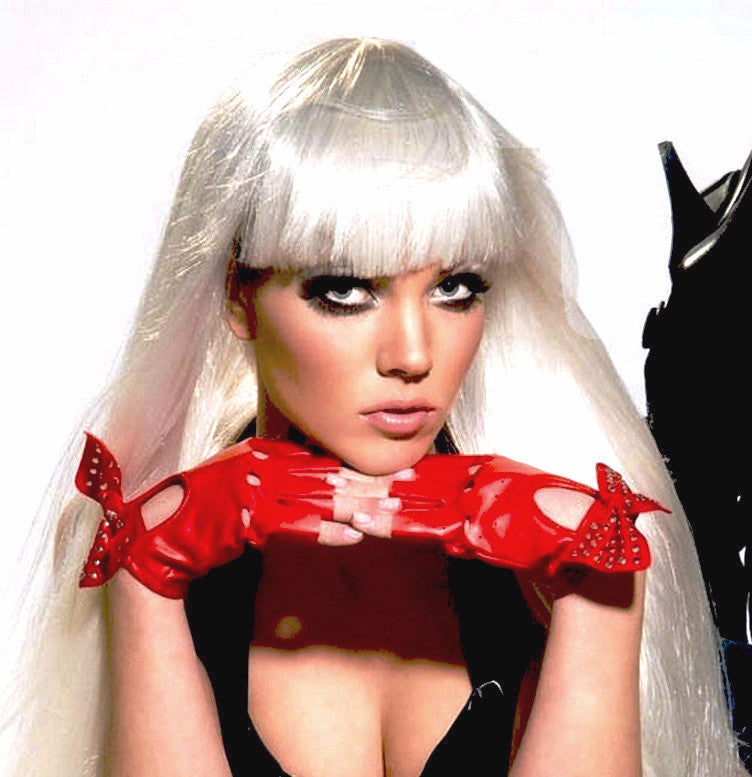 Lady Gaga Red Gloves with Studs & Bow