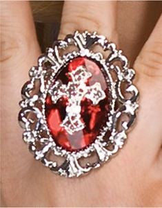 Gothic Cross Ring Red