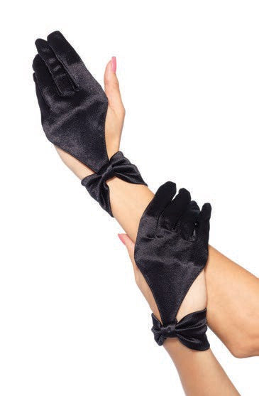 Satin Cut Out Glove Black