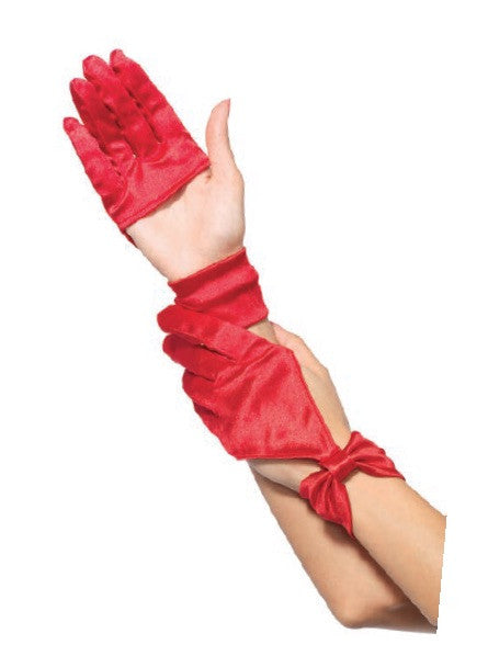 Satin Cut Out Glove Red
