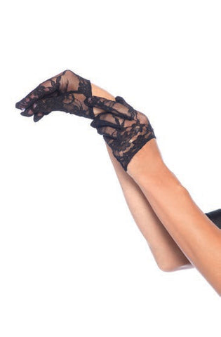 Mini Cropped Lace Gloves Black