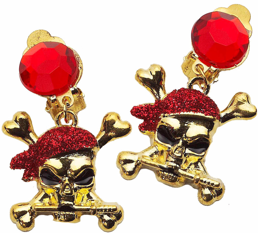 Red Glitter Pirate Earrings