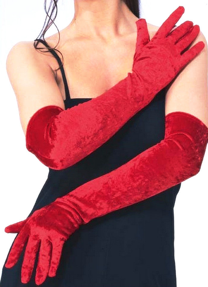 Long Gloves Red Velvet