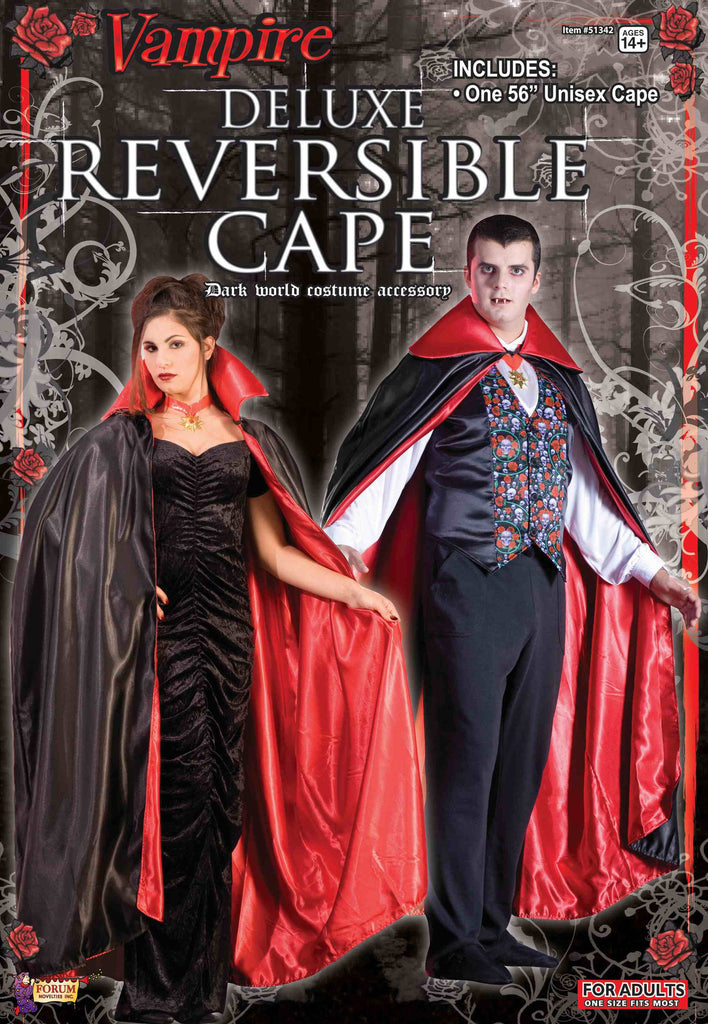 Satin Reversible Cape Red/Black 56""