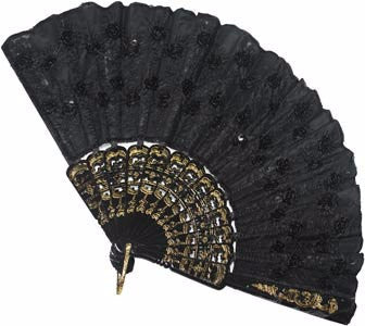Lace Fan with Gold Trim Black