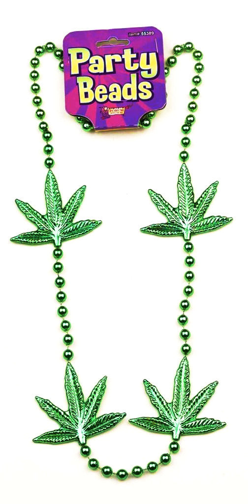Mardi Gras Green Leaf Necklace 48""