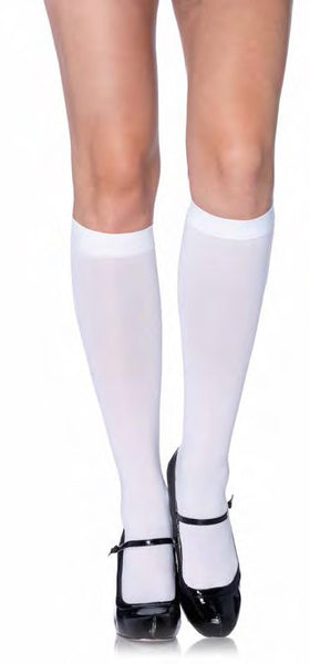 Nylon Opaque Knee Highs White