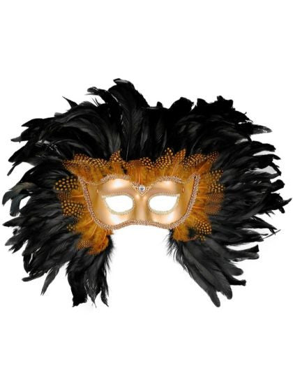 Mask Venetian Gold with Feathers