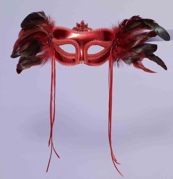 Venetian Mask with Feather Red