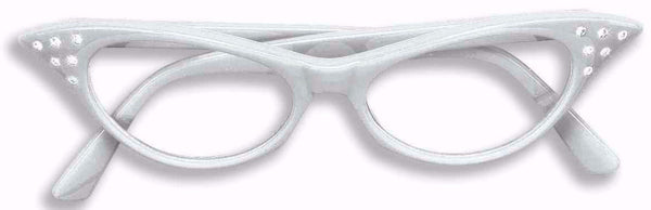 50's Rhinestone Glasses White