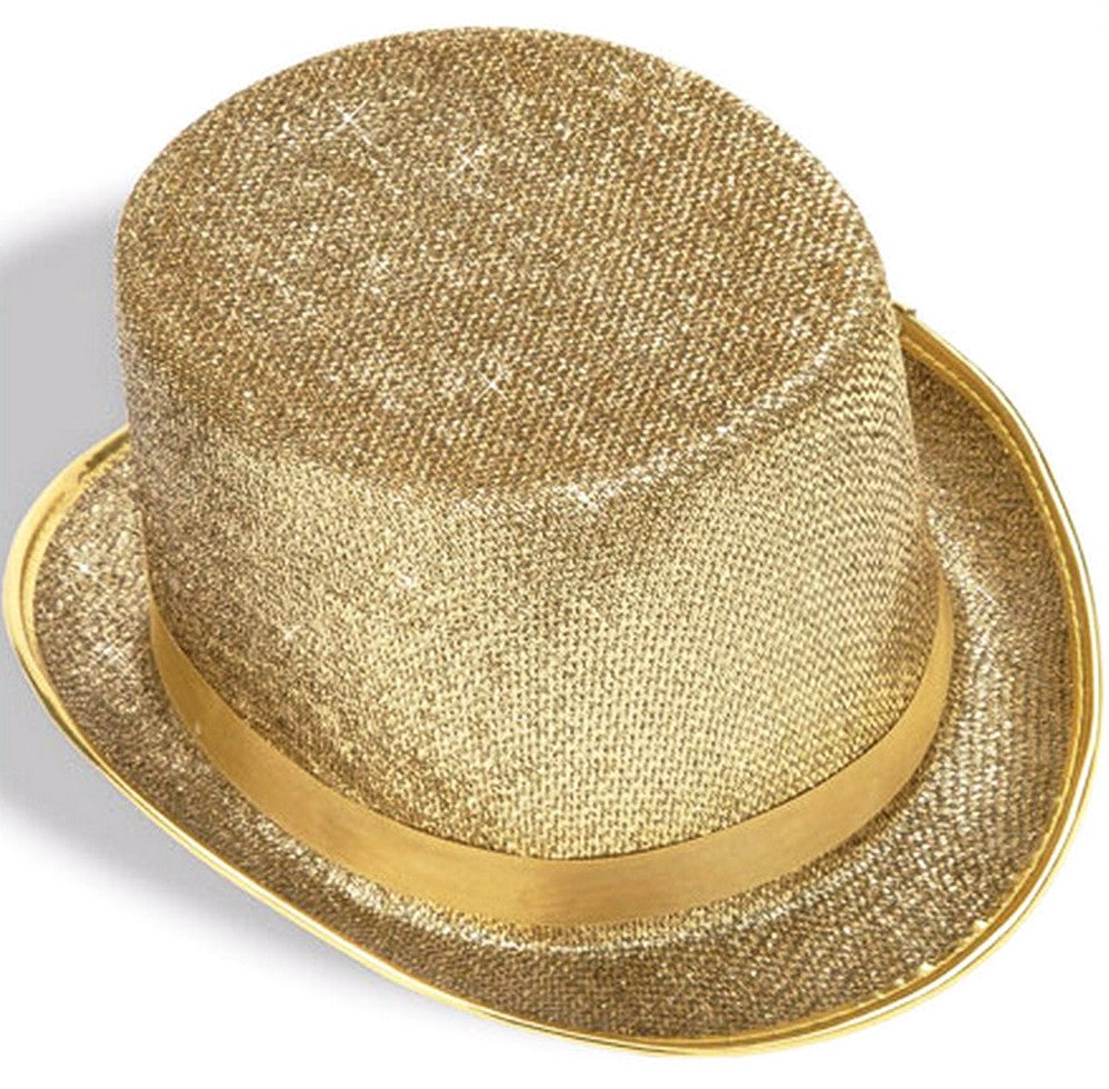 Gold Glitter Mesh Top Hat