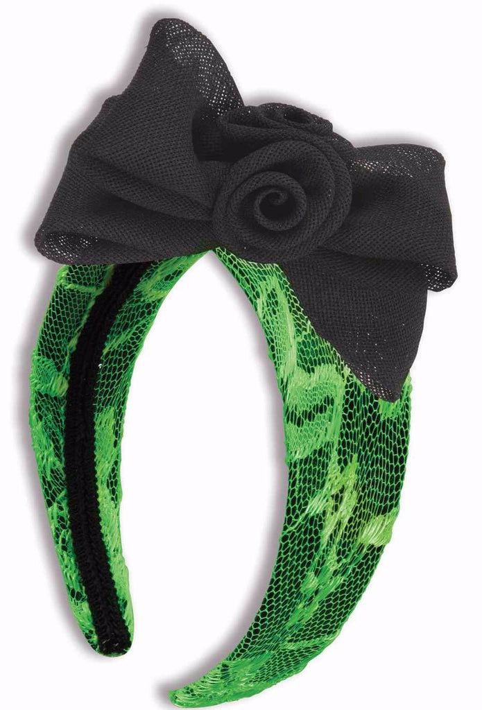 Neon Green Lace Headband with Bow