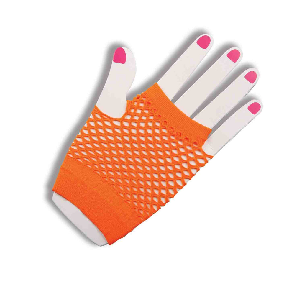Fishnet Fingerless Gloves Short Orange