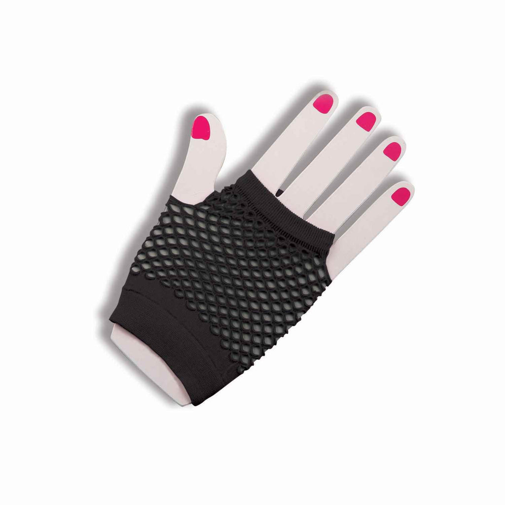 Fishnet Fingerless Gloves Short Black