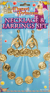 Gold Coin Necklace & Earrings