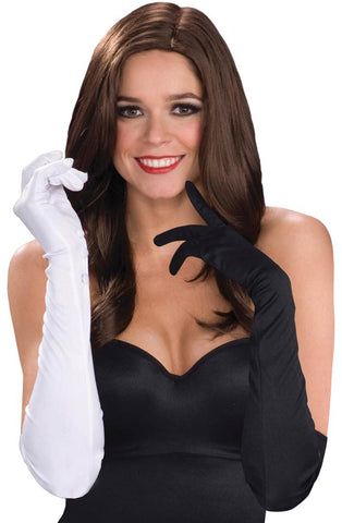 Black & White Long Nylon Gloves