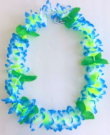Crinkle Blue/White Leaf Lei