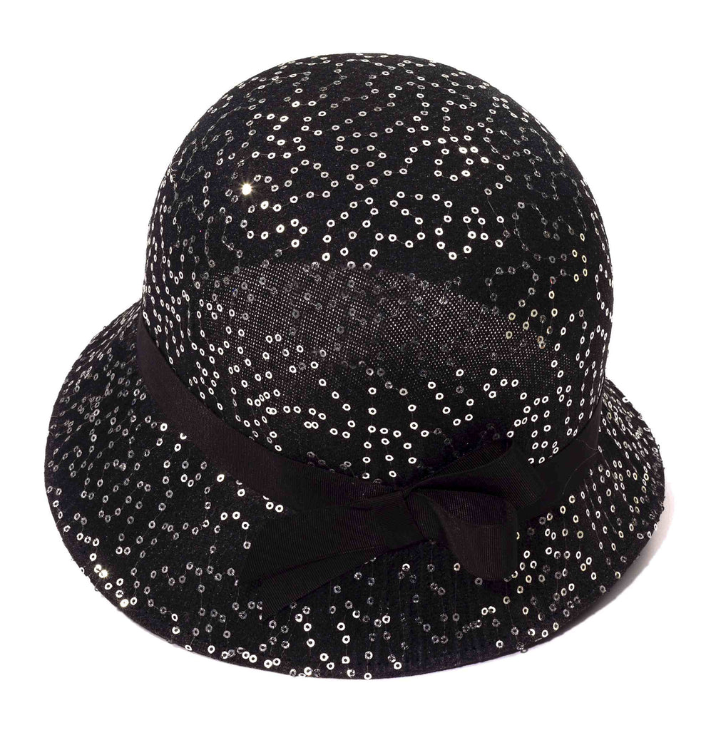 Sequin Flapper Hat Black
