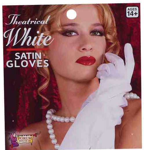 "9"" Satin Gloves White"