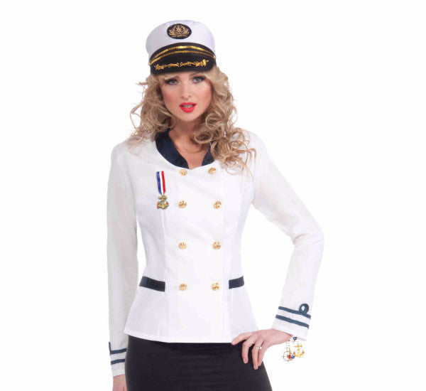 Lady in the Navy Officer Jacket White