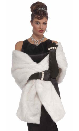 Vintage Hollywood Faux Mink Stole White