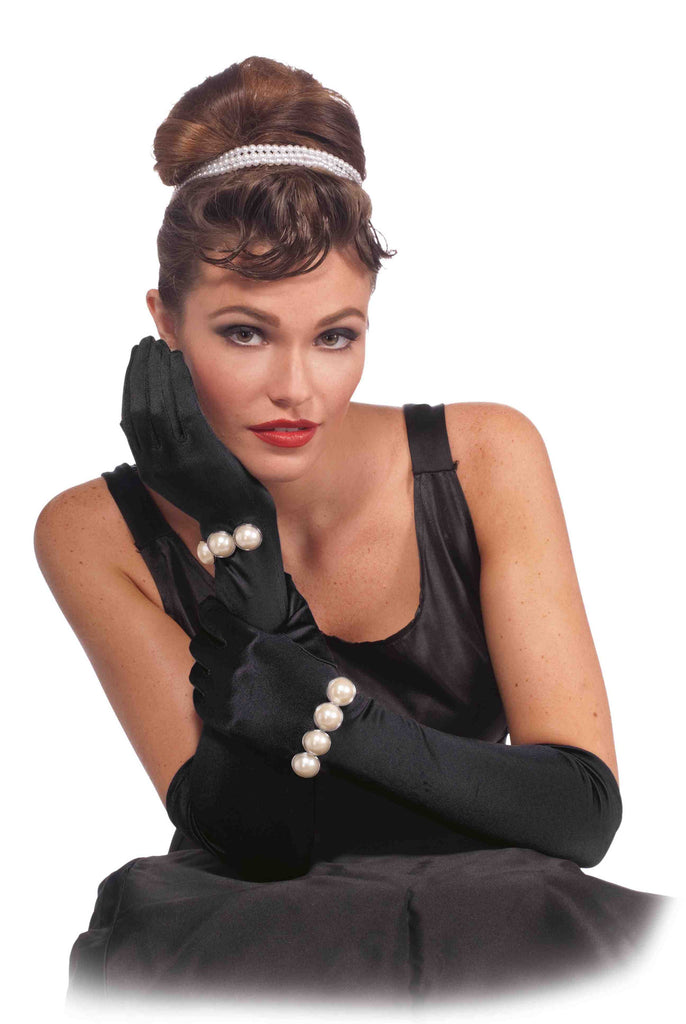 Vintage Hollywood Long Gloves with Pearl Black